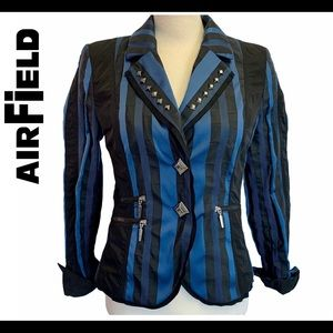 Airfield black blue striped blazer jacket